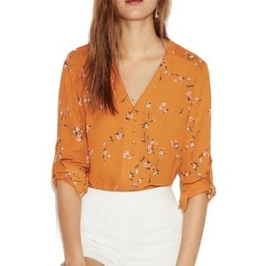 Express Floral Chelsea Blouse in Mustard